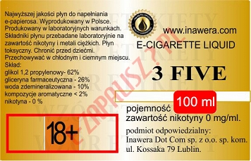 3 FIVE poj. 100ml INAWERA LIQUID bez nikotyny