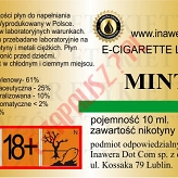 MENTHOL - MINT 18mg/ml poj. 10ml LIQUID INAWERA
