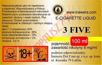 3 FIVE  6mg/ml poj. 100ml INAWERA LIQUID